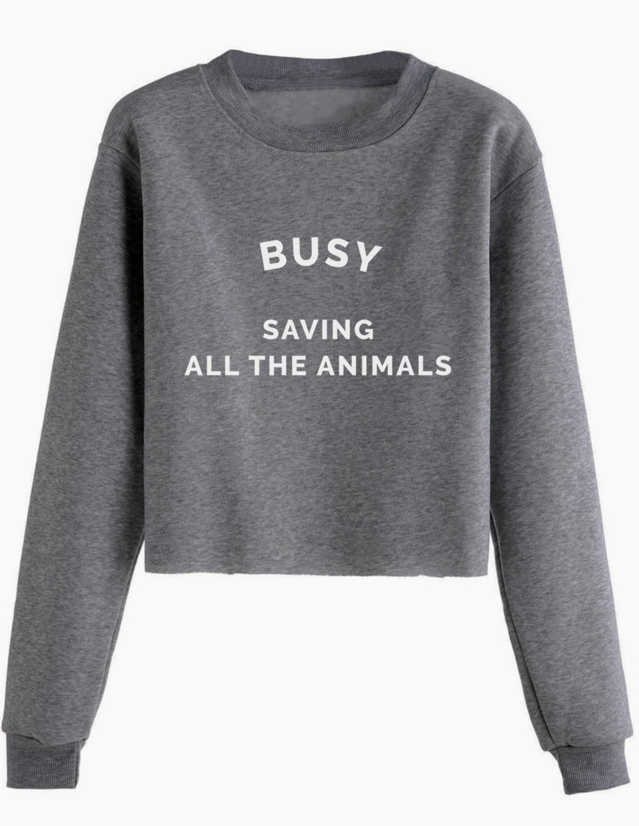 bff2adc3ad16 Busy Saving All The Animals - Cropped Crewneck - Wholesome Culture