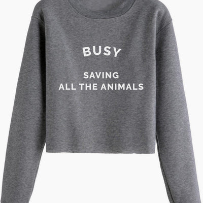 Busy Saving All The Animals - Cropped Crewneck