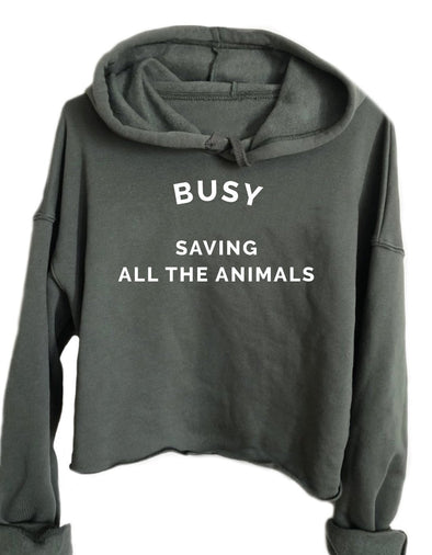Cropped Hoodie - Busy Saving All The Animals - Athletic Crop Hoodie