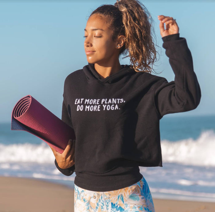 Cropped Hoodie - Eat More Plants, Do More Yoga - Black Athletic Crop Hoodie