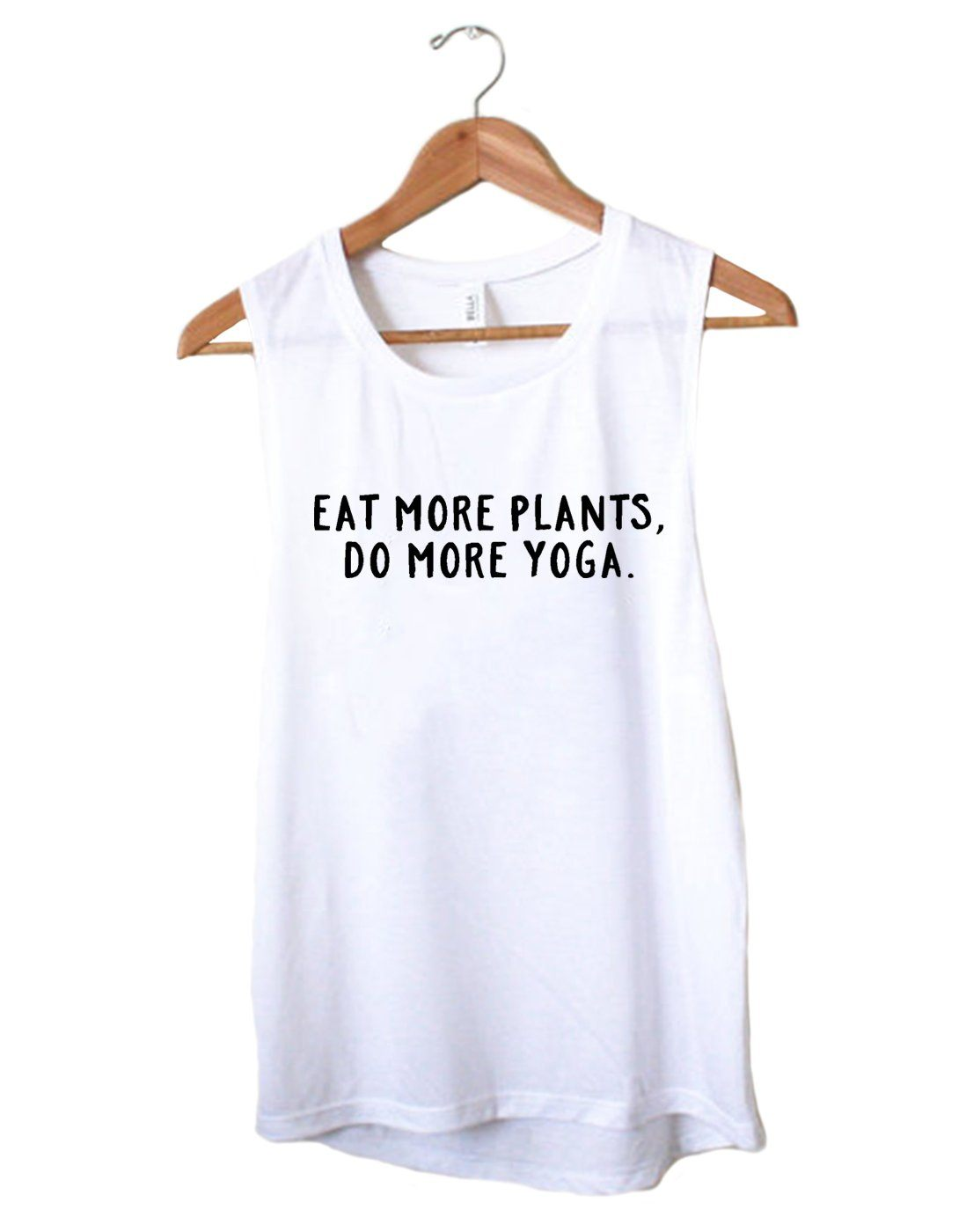 888d1b6fd51a4 Organic Muscle Tank - Eat More Plants - Do More Yoga - Eco Muscle Tank
