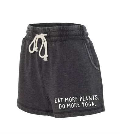 Shorts - Boxercraft Washed Rally Shorts - Eat More Plants, Do More Yoga