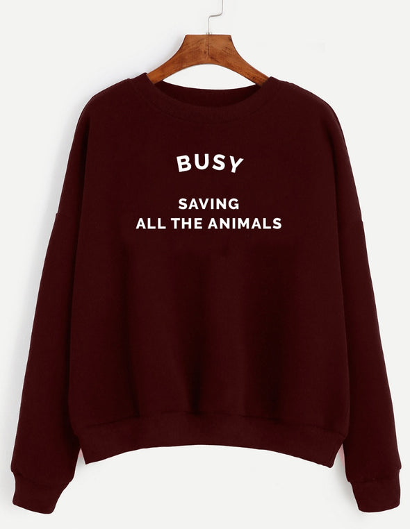Sweatshirt - Busy Saving All The Animals - Unisex Crewneck Sweatshirt