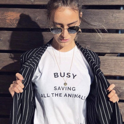 T-Shirts - Busy Saving All The Animals - T-Shirt