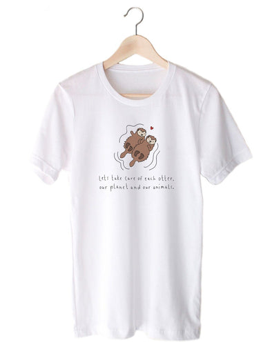 T-Shirts - Lets Take Care Of Each Otter, Our Planet And Our Animals - Tee