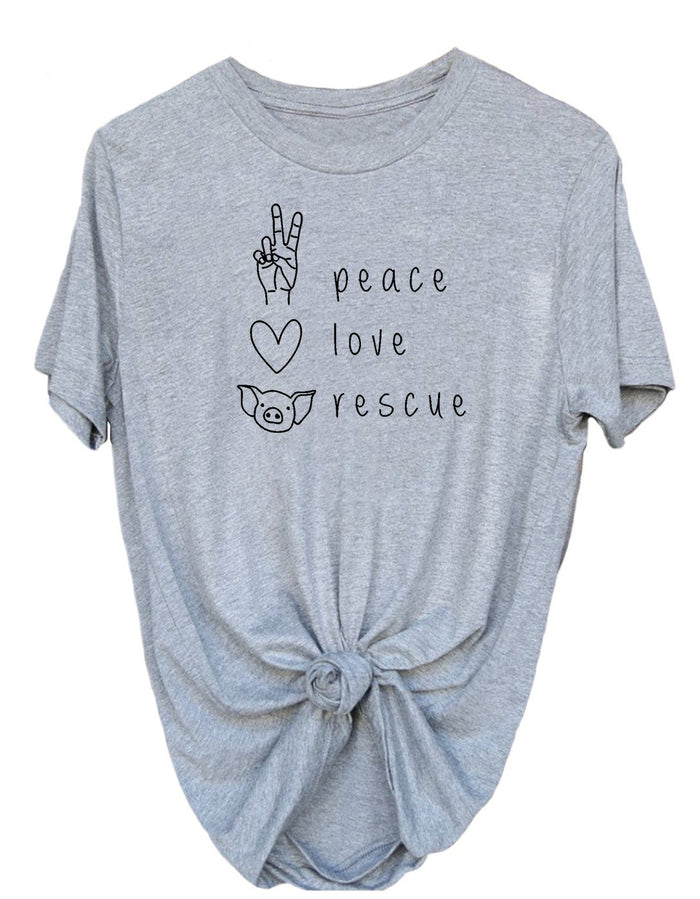 T-Shirts - Peace, Love, Rescue - Tee