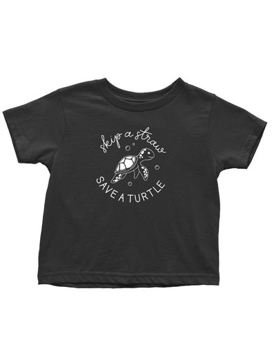 Toddlers T-Shirt - Skip A Straw Save A Turtle - Toddlers Tee