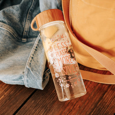 Less Plastic More Love - Glass Water Bottle