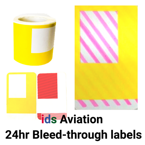 Aviation Compliant (VIC Issuing) 24 hour Bleed-through Labels & Backing Stickers