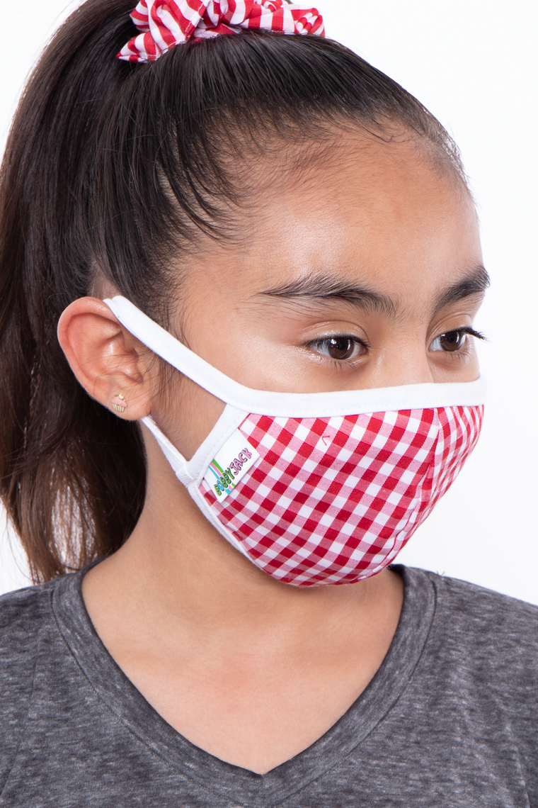 Kids Washable Gingham Face Mask - Ages 4 - 11