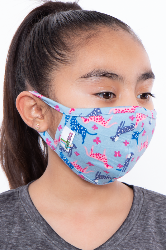 Kids Washable Fun Patterns Face Mask - Girls Ages 4 - 11