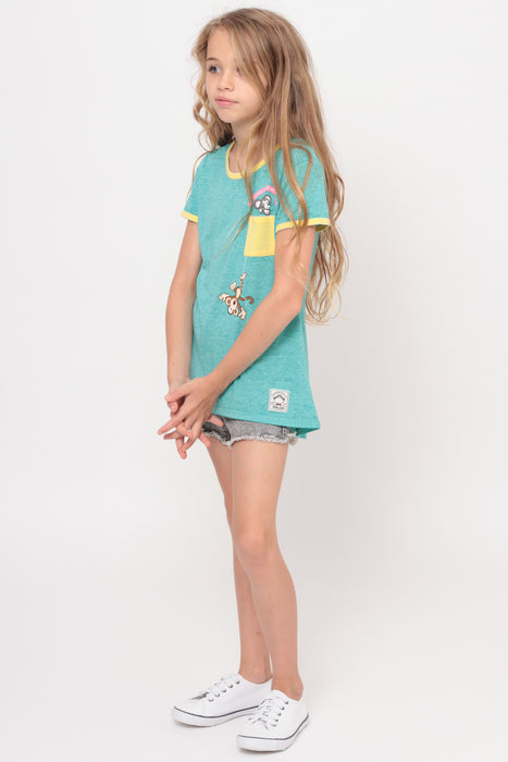 Hangin' With My Bestie | Pocket Ringer Top - Aqua