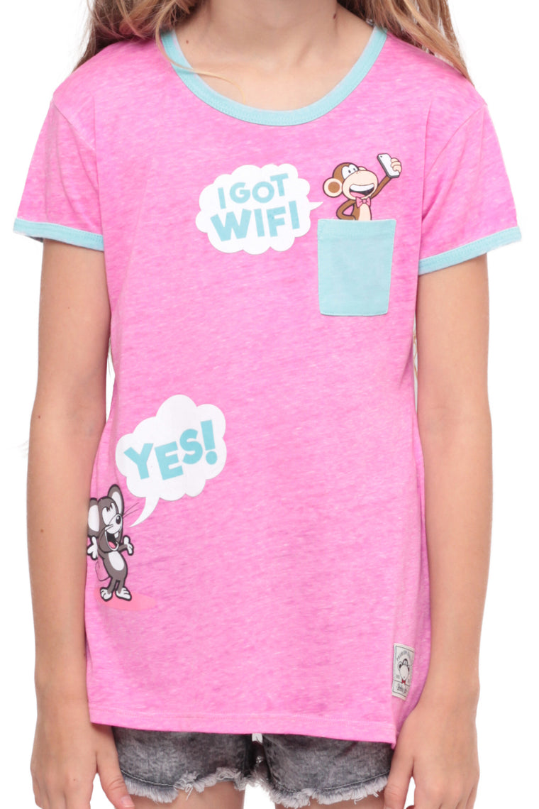 I Got Wifi | Pocket Ringer Top - Pink