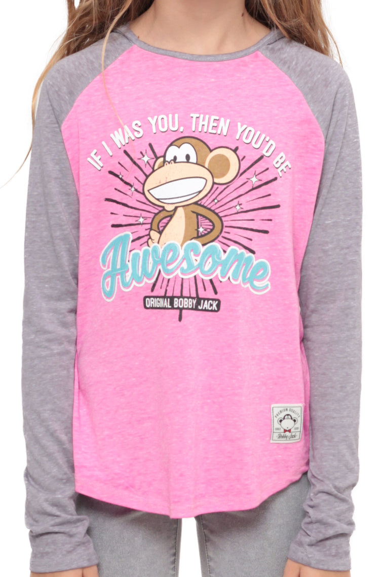 If I Was You | Hooded Baseball Top - Pink