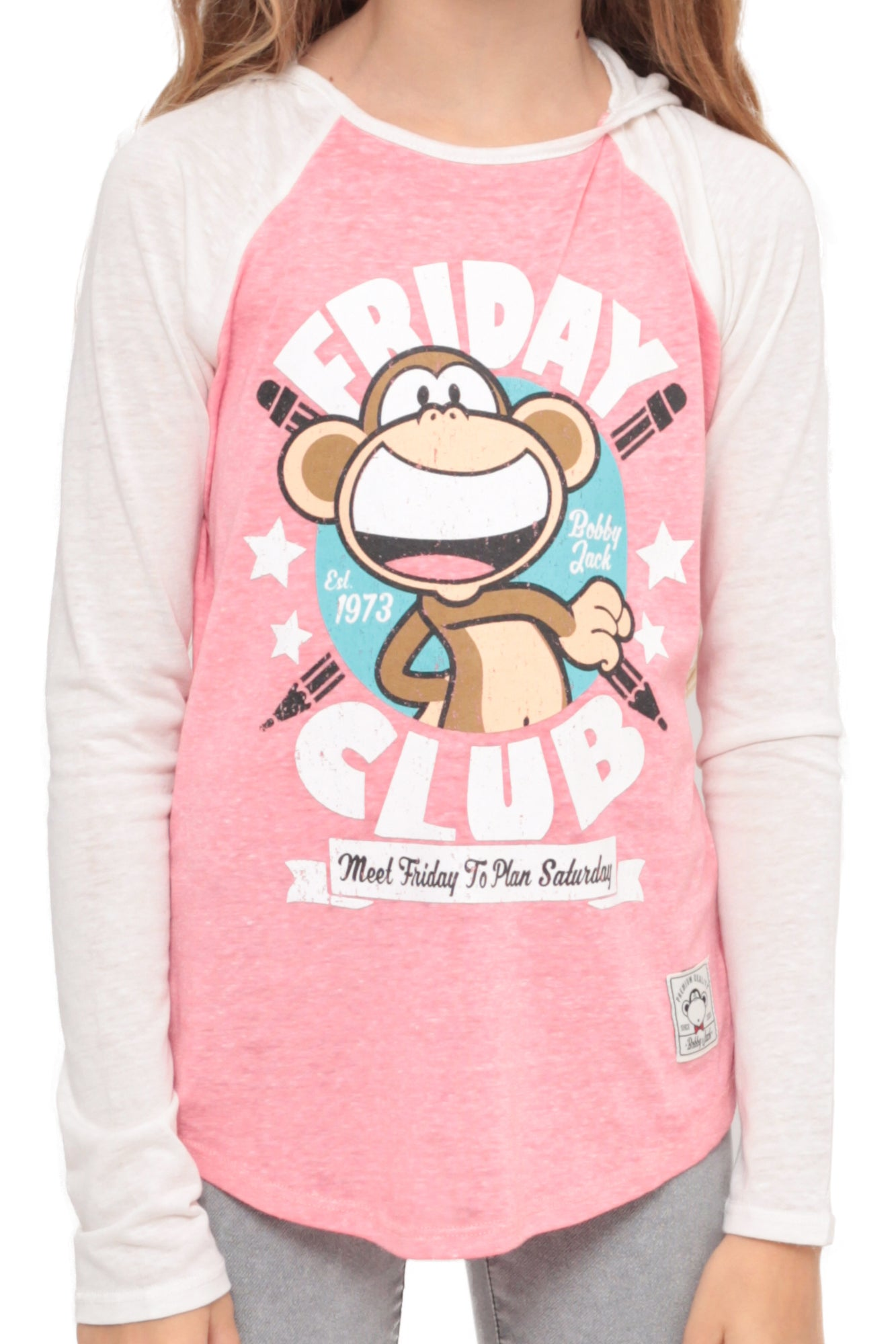 The Friday Club | Hooded Baseball Top - Coral