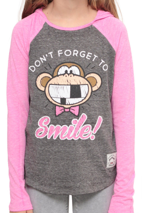 Don't Forget To Smile | Hooded Baseball Top - Charcoal