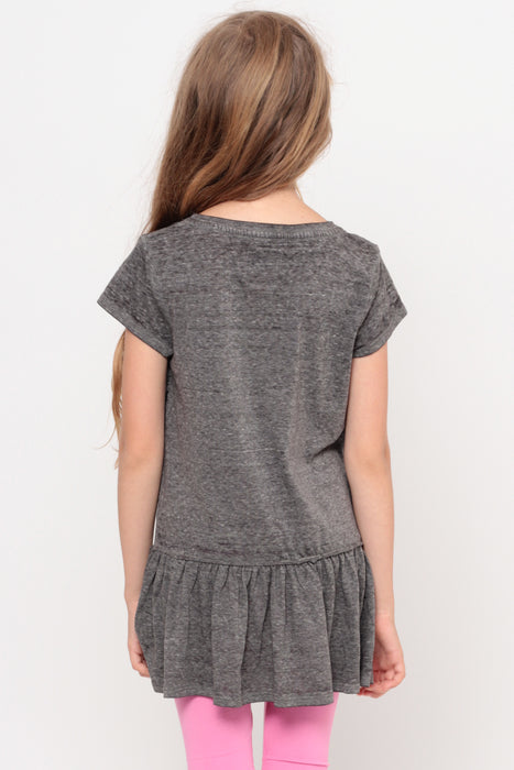 Been Around The World | Ruffle Bottom Top - Charcoal