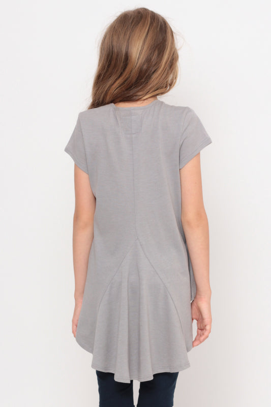 Very Busy Doing Nothing | Hi-Low Ruffle Back Top - Gray