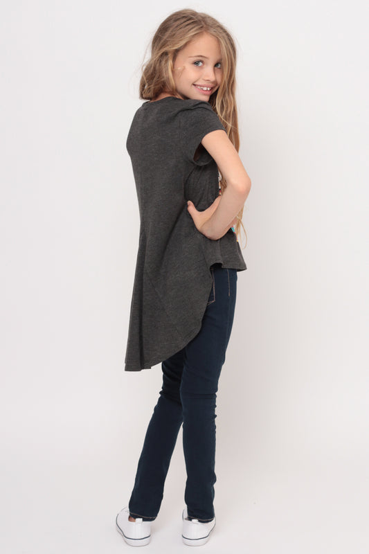 I Love Candy | Hi-Low Ruffle Back Top - Charcoal
