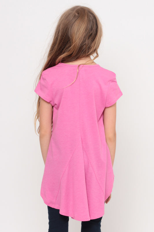 Love My Selfie | Hi-Low Ruffle Back Top - Pink