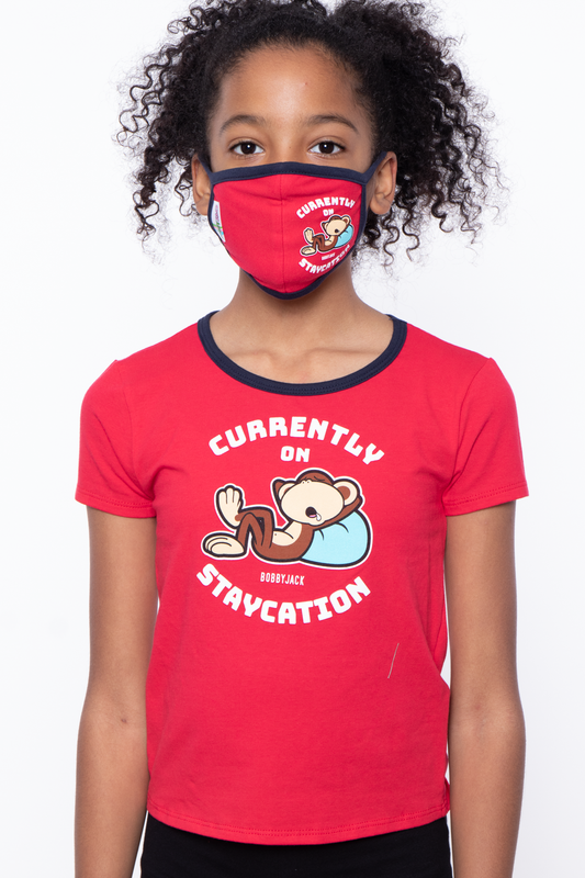 Bobby Jack Kids Mask & Shirt Set - Staycation