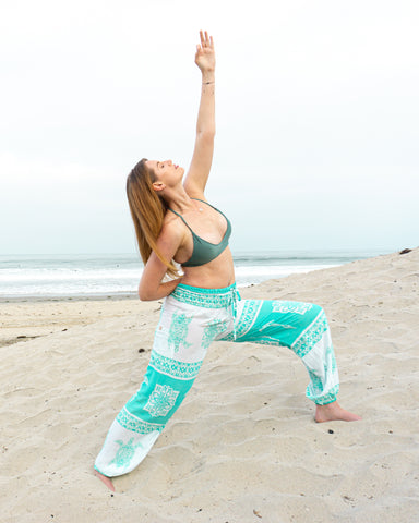 PI Save the Sea Turtle Sea Foam Green Scrunched Bottom Lounge Comfortable Yoga Pants