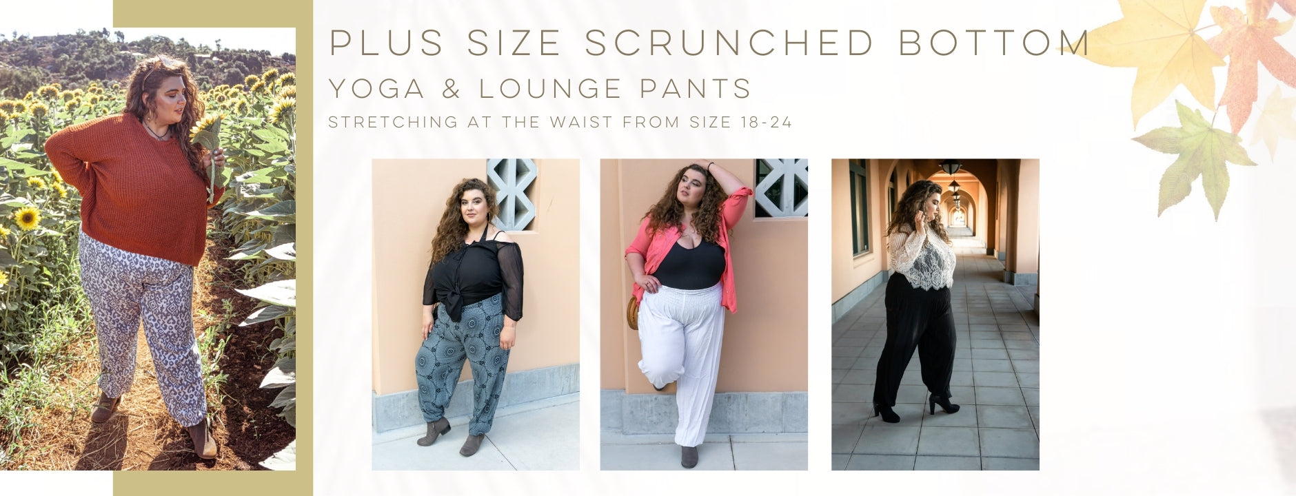 PIYOGA - Plus Size Scrunched Bottom Yoga Pants Size 18-24 - Yoga, Lounge, Beach, Autumn, Surfwear, Work, Loose, Flowy, Lightweight, Comfy, Soft, Drawstring, Rayon, Handmade, Pockets