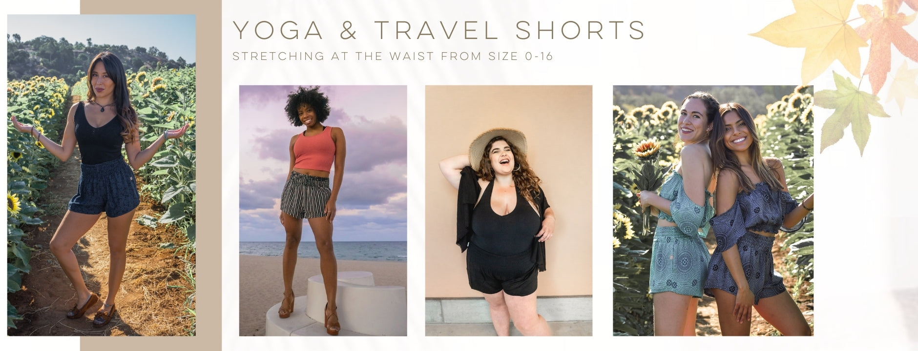 PIYOGA - Shorts Size 0-12 & 12-16 - Tall, Petite, Large, Plus Size, Loose, Flowy, Lightweight, Soft, Pockets, High Waisted, Beach, Yoga, Travel, Vacation, Autumn, Loungwear