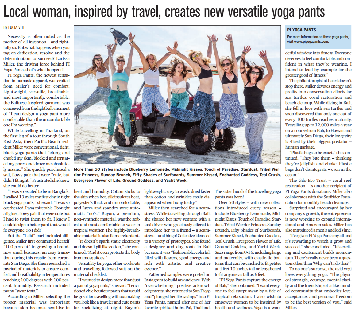 Local woman, inspired by travel, creates versatile yoga pants. PIYOGA pants featured publication in the Beach & Bay Press in San Diego, California