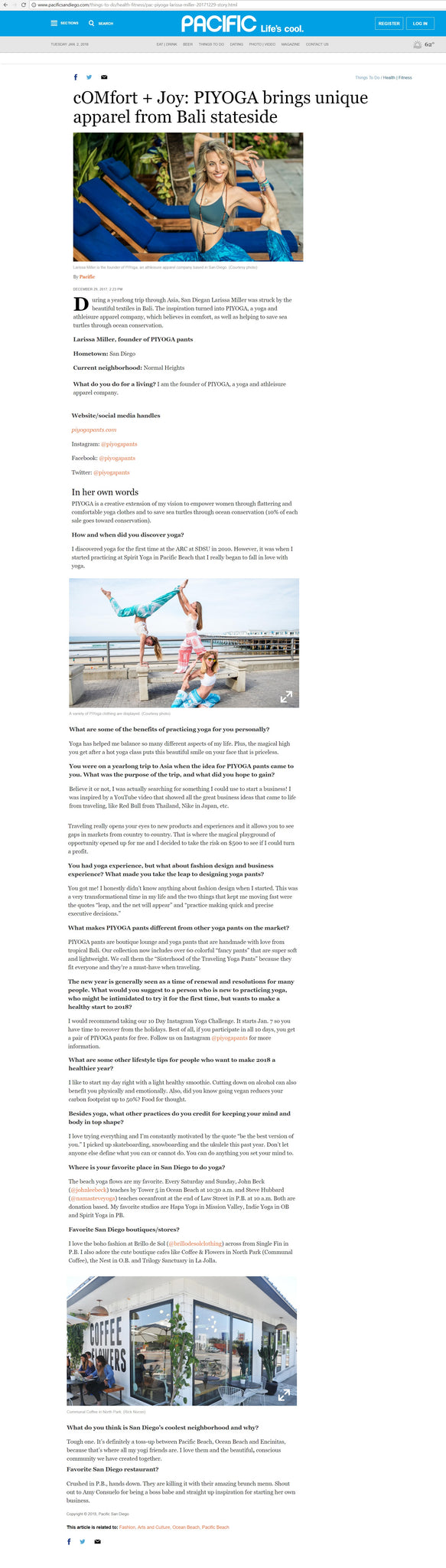 PIYOGA was featured in PACIFIC Magazine, San Diego's best magazine in the 92109