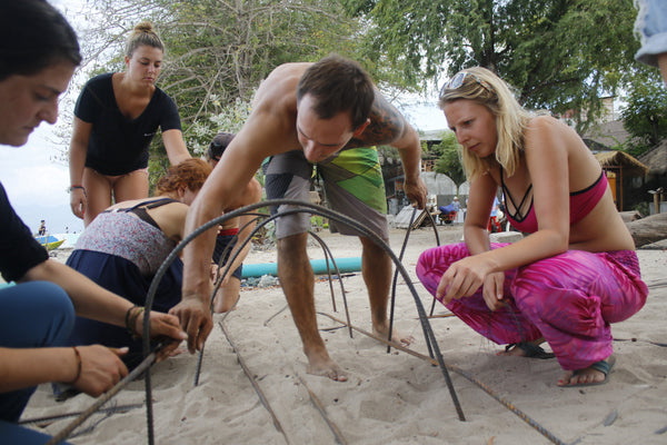 PIYOGA helps build a bio-rock with the Gili Eco Trust on Gili Trawangan off Bali, Indonesia Ocean Conservation Save the Turtles