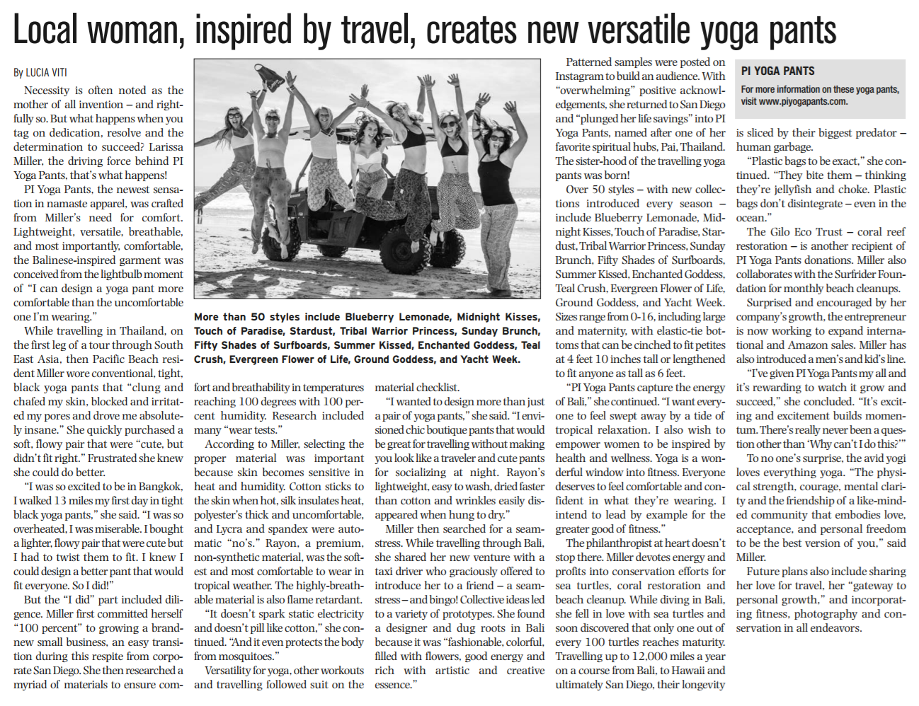 PIYOGA pants was featured in La Jolla Village News a local San Diego Newspaper. Press release