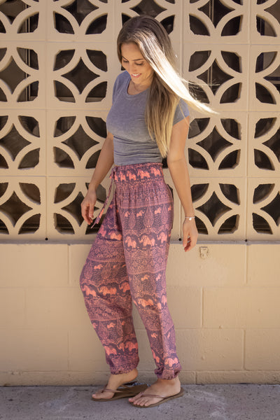 PI Yoga Pants - Happy Elephants Pants Collection Pink - New Release