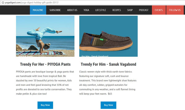 "Click here to read the featured PIYOGA placement in the ""Yoga Digest Holiday Gift Guide - Trendy Gifts for Her"""