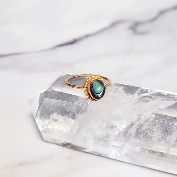 PIYOGA - Rainbow Oval Abalone - Gold Ring with Abalone Shell
