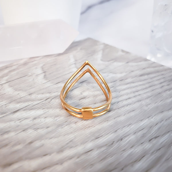 Double Mountain Peak - Gold Ring