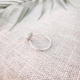 White Mother of Pearl Circular - .925 Sterling Silver Ring