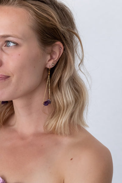 Amethyst Earrings, Gold Plated