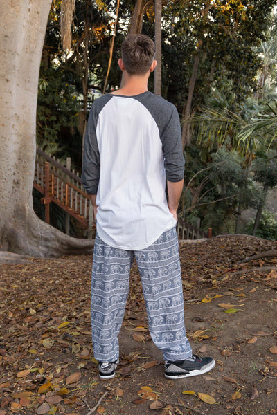 Confidence of the Elephants (Gray) (Gray/White) - Men's Scrunched Bottom - Pi Yoga Pants