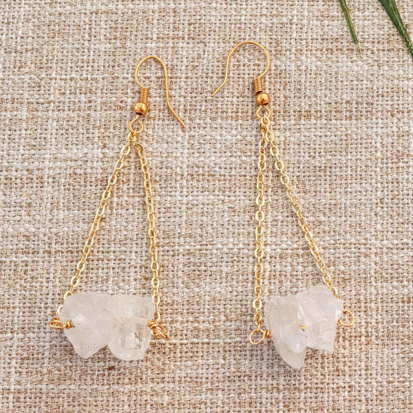 Clear Quartz Earrings, Gold Plated