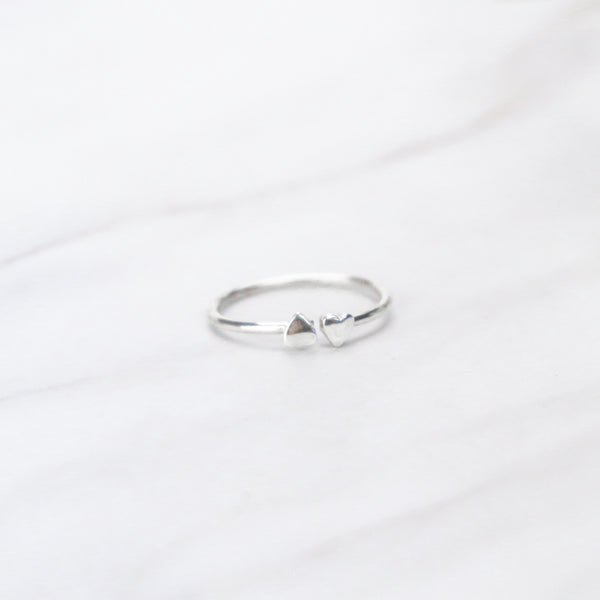 Heart to Heart - .925 Sterling Silver Ring