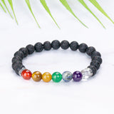 PI YOGA PANTS PIYOGA piyogapants.com - Featured Print: Black Lava Rock 7 Chakras Bracelet Bracelet, Jewelry, Mothers Day