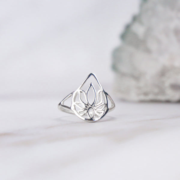PIYOGA www.piyogapants.com Lotus Tear Drop - Sterling Silver Ring - Jewelry - Rings