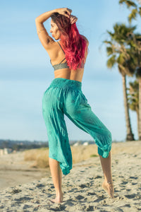 Teal Flower of Life - Flared Capris