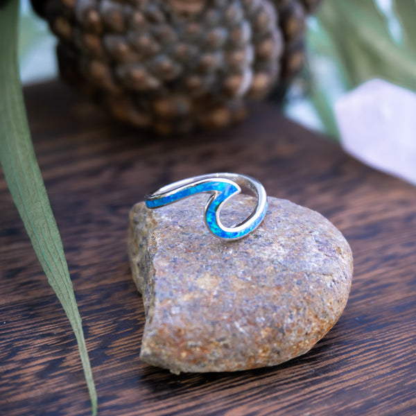 Blue Crushed Opal Wave - .925 Sterling Silver Wave Ring