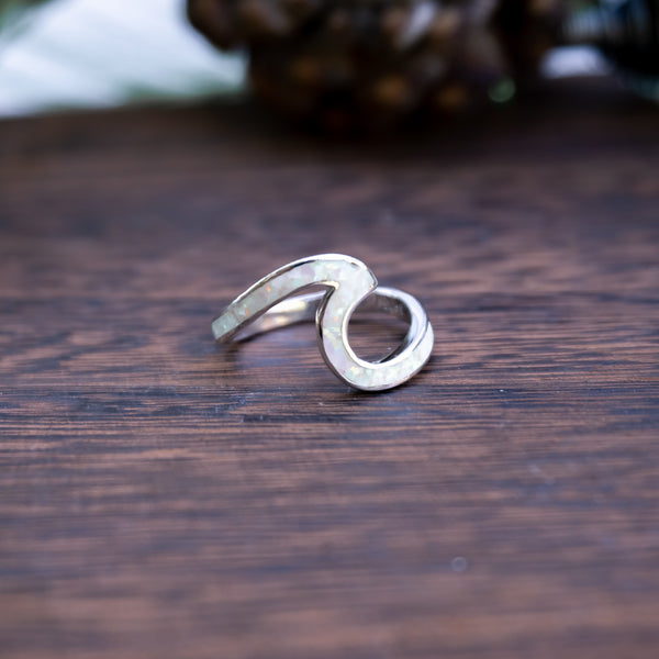 Arctic Wave White Crushed Opal - .925 Sterling Silver Wave Ring