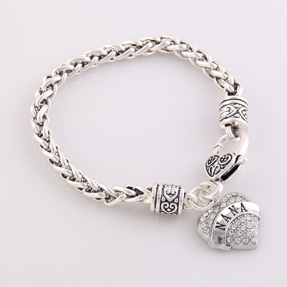 Nana Crystal Rhinestone Heart Bangle Bracelet
