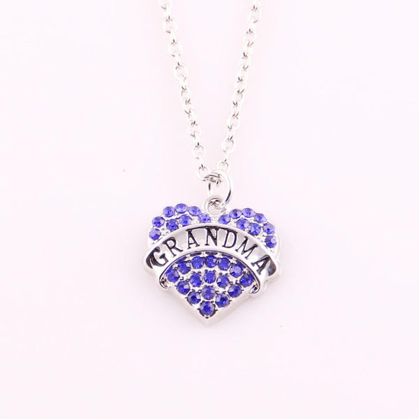 Grandma, Mom, or Nana Crystal Heart Rhinestone Necklace