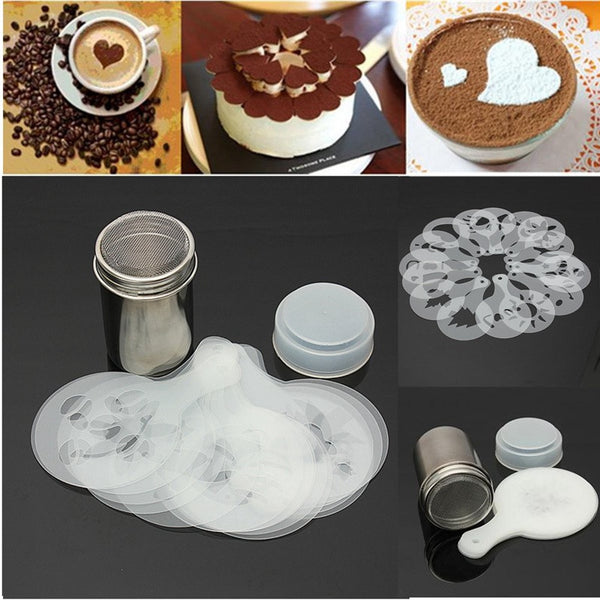 Stainless Steel Chocolate Shaker/ Duster With 12Pcs Coffee Barista Stencils Set
