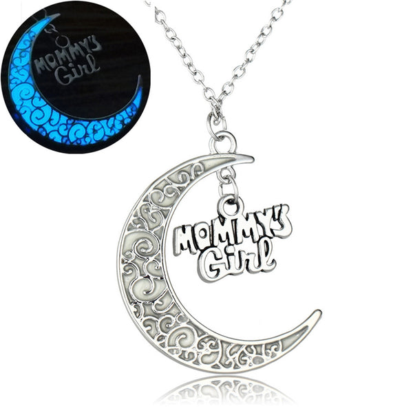 Glowing In the Dark Moon Pendant Necklaces Silver Plated Chain Letter Charms Choker Necklaces